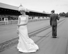 Malla and George on Racetrack, Saratoga Springs, New York, 2008, Archive Number: EBR-0608-055-12-F, 16 x 20 Silver Gelatin Photograph