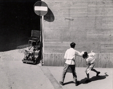 Fight of Two Bus Boys, Naples, 1961, 8-1/4 x 10-5/8 Vintage Silver Gelatin Photograph