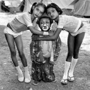 Duray with Two Young Acrobats, Rey Kamal Circus, Upleta, India, 1989, Silver Gelatin Photograph