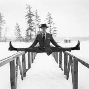 Reed Balancing on Bridge, Lake Placid, New York, 2008, Archive Number: HFR-0308-039-12, 16 x 20 Silver Gelatin Photograph