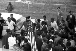 Dr. Martin Luther King at head of march, with wife Coretta Scott King, John Lewis, Selma to Montgomery, Alabama Civil Rights March, March 23-25, 1965