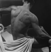 Male Back Study with White Drapery, c. 1930, 20 x 16 Platinum Palladium on 24 x 20 Paper, Ed. 27