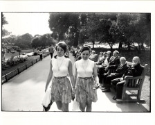 Two Women Walking in Park, 11 x 14 Silver Gelatin Photograph