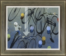 """ROBERT VICKREY (1926–2011), """"Eight Balloons, 1995. Egg tempera on gessoed panel, 22 1/4 x 27 1/2 in. Showing gilded and painted Modernist frame."""
