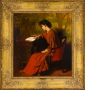 THOMAS POLLACK ANSHUTZ (1851–1912), Woman Reading at a Desk, c. 1910. Oil on canvas, 26 x 24 in. Showing carved and gilded Regence-style frame.