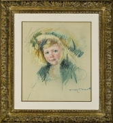 Mary Cassatt (1844–1926). Sara in a Bonnet With a Plum Hanging Down at Left (No. 2), about 1906–07. Pastel on paper, 17 x 15 in.