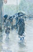 CHILDE HASSAM (1859–1935), A Wet Day on Broadway, 1891. Pastel on fine-weave canvas, 18 x 21 7/8 in. Detail of pedestrians on rainy sidewalk.