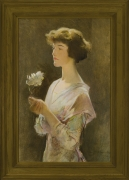 Image of John White Alexander's Portrait of Julia Swift Gilbert, oil on canvas laid on Masonite, 33 1/2 x 21 3/4 inches, painted in 1914