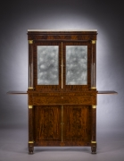Cabinet with Mirrored Doors, about 1820. Attributed to Duncan Phyfe (1770–1854), New York. Mahogany, with ormolu capitals and bases, gilt-brass door moldings, keyhole liners, and knobs, marble, and mirror plate 78 5/8 in. high, 35 in. wide, 22 in. deep (overall). Frontal view, with slides extended.