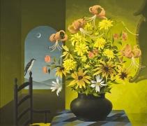 THOMAS FRANSIOLI (1906–1997), Still Life of Flowers, 1959. Oil on canvas, 24 x 28 in.