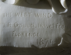 """THOMAS RIDGEWAY GOULD (1818–1881), """"The West Wind,"""" 1874. Marble, 48 in. high. Detail of signature and inscription."""