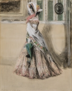 "Everett Shinn (1876–1953). Julia Marlowe as Barbara Frietche, in the Play ""Barbara Frietche, the Frederick Girl,"" about 1899–1900. Pastel on paper mounted on board, 37 3/4 x 29 3/4 in."