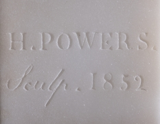 HIRAM POWERS (1805–1873), Greek Slave, 1852. Marble, 15 in. high. Detail of signature, date, and inscription on the back of truncation.