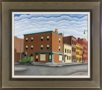 GEORGE COPELAND AULT (1891–1948), Morning in Brooklyn, 1929. Oil on canvas, 20 x 24 in. Showing frame.