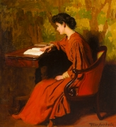 THOMAS POLLACK ANSHUTZ (1851–1912), Woman Reading at a Desk, c. 1910. Oil on canvas, 26 x 24 in.