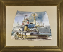 REGINALD MARSH (1898–1954)Cutter Approaching a Liner at Quarantine (Study for Rotunda Mural, U.S. Customs House, New York),1937Gouache on paper, 15 1/2 x 22 in. Signed and dated (at lower right): 1937 / Reginald Marsh