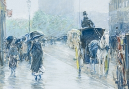 CHILDE HASSAM (1859–1935), A Wet Day on Broadway, 1891. Pastel on fine-weave canvas, 18 x 21 7/8 in. Center detail, looking south on Broadway to Union Square Park.
