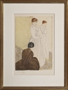 Mary Stevenson Cassatt (1844–1926) The Fitting, 1890–91. Drypoint and aquatint, printed in colors, inked à la poupée, on laid paper, 14 3/4 x 9 7/8 in.