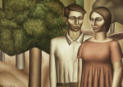 Everett Gee Jackson (1900–1995), Man and Woman with Acacia Tree, 1932. Oil on canvas, 19 3/4 x 27 3/4 in.