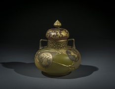Royal Flemish Handled and Covered Jar,about 1889–95Mount Washington Glass Company, New Bedford, MassachusettsGlass, stained, and gilded6 5/8 in. high, 5 5/8 in. diameter