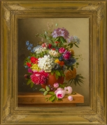 ARNOLDUS BLOEMERS (1792–1844), Still Life of Peonies, Roses, Honeysuckle, Poppies, and other Flowers. Oil on canvas, 30 x 24 in. Showing gilded Neo-Classical style frame with ornamented corners.