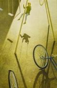 """ROBERT VICKREY (1926–2011), """"Playground"""" Egg tempera on Masonite, 30 x 20 in."""