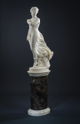 """THOMAS RIDGEWAY GOULD (1818–1881), """"The West Wind,"""" 1874. Marble, 48 in. high. On original 3-piece marble pedestal, 33 in. high."""
