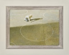 """ROBERT VICKREY (1926–2011), """"Marble Player."""" Egg tempera on gessoed panel, 11 3/8 x 16 in. Showing painted and stained Modernist frame."""