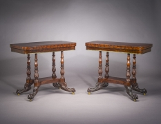 Pair Card Tables in the Neo-Classical Taste, about 1820. New York, possibly by Michael Allison. Mahogany and ebony, with brass line inlay, gilt-brass castors and hinges, and marbled paper 29 7/8 in. high, 35 7/8 in. wide, 18 in. deep