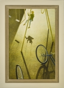 """ROBERT VICKREY (1926–2011), """"Playground"""" Egg tempera on Masonite, 30 x 20 in. Showing painted and stained Modernist frame."""