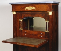 Secrétaire à Abattant, about 1820–25. Attributed to Thomas Emmons and George Archbald, Boston (active together 1814–25). Mahogany and bird's eye maple, with ormolu mounts, die-rolled gilt-brass moldings filled with lead, marble, mirror plate, and leather, variously blind-stamped and gilded, 57 3/16 in. high, 37 1/4 in. wide, 19 3/4 in. deep. Detail of gallery with desktop opened.