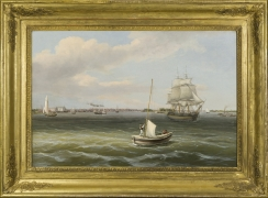 THOMAS BIRCH (1779–1851), View of Philadelphia Harbor, c. 1835–40. Oil on canvas, 20 x 30 1/4 in., showing frame
