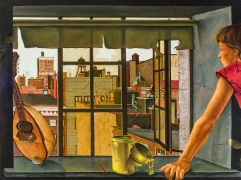 "JULES KIRSCHENBAUM (1930–2000), ""Young Woman at a Window,"" about 1953. Oil on canvas, 30 1/8 x 40 1/4 in."
