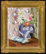 VANESSA BELL (1879–1961)  Still Life of Flowers, c. 1945. Oil on canvas, 20 x 16 in. Showing gilded fluted cove frame.