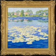 JANE PETERSON (1876–1965). Niles Pond (Yellow and Turquoise), about 1916–20. Oil on canvas, 32 x 32 in.