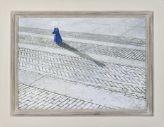 """ROBERT VICKREY (1926–2011), """"Nun Walking a Brick Road."""" Egg tempera on Masonite, 15 7/8 x 21 7/8 in. Showing painted and stained Modernist frame."""