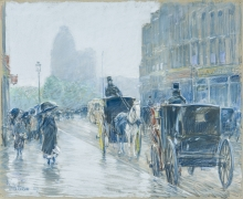 CHILDE HASSAM (1859–1935), A Wet Day on Broadway, 1891. Pastel on fine-weave canvas, 18 x 21 7/8 in. Unframed image.