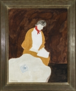 MILTON AVERY (1885–1965)  Red Kerchief  Oil on canvas, 40 x 32 in., showing frame