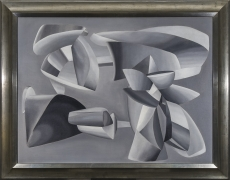 JOHN FERREN (1905–1970), Grey Scale Composition, 1937. Oil and sand on canvas, 35 x 45 5/8 in. Showing gilded frame.