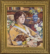 THÉO VAN RYSSELBERGHE (Belgian, 1862–1926), Portrait of Laure Flé, 1913. Oil on paper board, 27 x 23 3/4 in. Showing gilded Louis XIV-style frame.