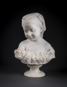 THOMAS BALL (1819–1911), La Petite Pensée, 1871. Marble, 19 1/2 in. high x 13 1/4 in. wide x 8 1/4 in. in deep