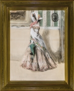 """Everett Shinn (1876–1953). Julia Marlowe as Barbara Frietche, in the Play """"Barbara Frietche, the Frederick Girl,"""" about 1899–1900. Pastel on paper mounted on board, 37 3/4 x 29 3/4 in."""