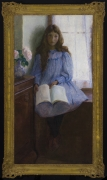 LILLA CABOT PERRY (1848–1933), Un Jour de Pluie, 1896. Oil on canvas, 55 x 29 3/4 in. Showing gilded Louis XV-style frame.