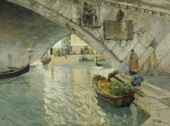 FRITS THAULOW (1847–1906), Under the Rialto Bridge of Venice, 1885. Oil on canvas, 25 x 34 in.