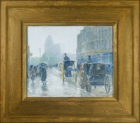 CHILDE HASSAM (1859–1935), A Wet Day on Broadway, 1891. Pastel on fine-weave canvas, 18 x 21 7/8 in. Showing original gilded oak Doll & Richards frame.