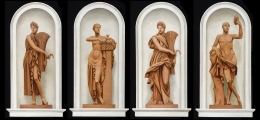 BERNARD BOUTET DE MONVEL (1881–1949), Four Trompe l'Oeil Paintings of Roman Deities for the Home of Mary Benjamin Rogers, Paris, 1928–29. Each, oil on canvas mounted on Masonite, 60 5/8 x 31 1/2 in. Left to right: Ceres I, Pomona, Ceres II, Bacchus.