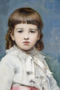 RAIMUNDO DE MADRAZO Y GARRETA (1841–1920), Portrait of Gertrude Vanderbilt, 1880. Oil on canvas, 58 3/8 x 39 1/4 in. Bust-length detail.