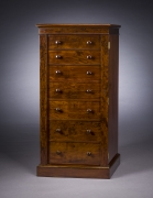 Seven-drawer Tall Chest, about 1825. Boston. Mahogany, with brass hardware 45 5/8 in. high, 27 5/8 in. wide, 14 5/8 in. deep