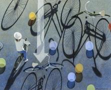 "ROBERT VICKREY (1926–2011), ""Eight Balloons, 1995. Egg tempera on gessoed panel, 22 1/4 x 27 1/2 in."