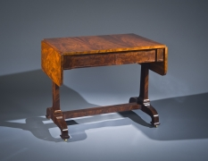 Sofa Table, later 1830s. Attributed to D[uncan] Phyfe and Sons (active 1837–40), New York. Mahogany, with gilt brass castors, 29 7/8 in. high, 24 in. wide, 36 3/4 in. long; 56 1/8 in. long (with both leaves extended). With leaves dropped.